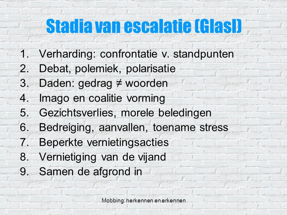 Mobbing: herkennen en erkennen Stadia van escalatie (Glasl) 1.Verharding: confrontatie v. standpunten 2.Debat, polemiek, polarisatie 3.Daden: gedrag ≠