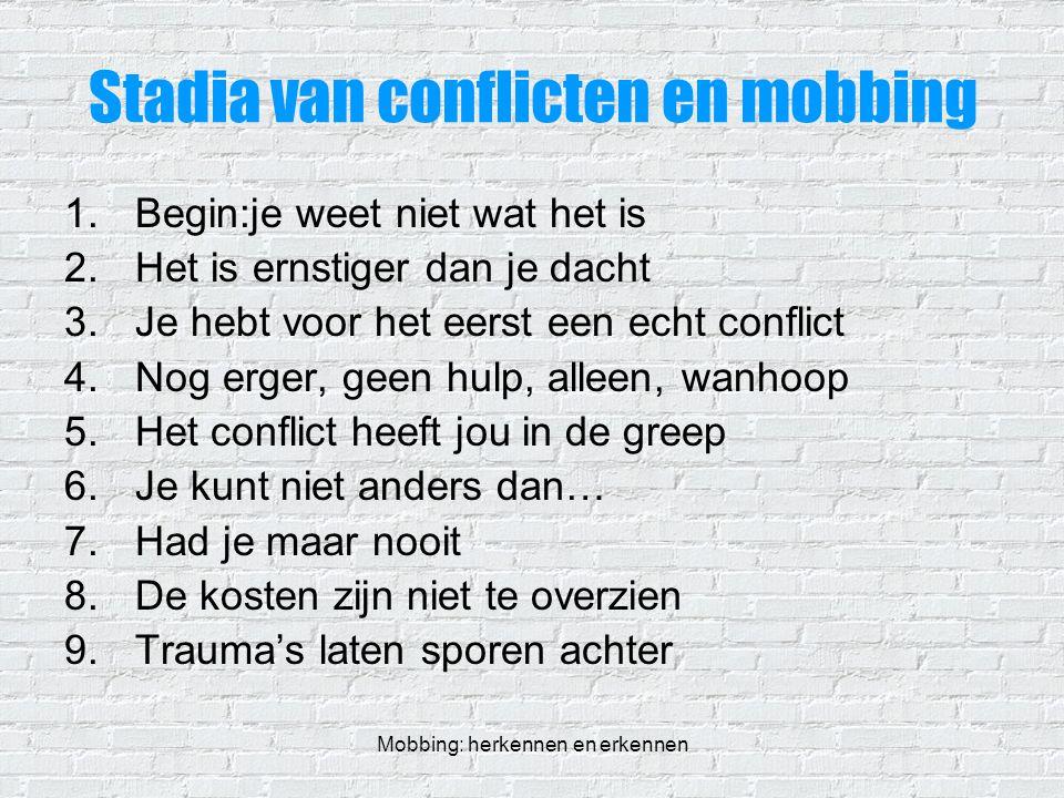 Mobbing: herkennen en erkennen Stadia van conflicten en mobbing 1.Begin:je weet niet wat het is 2.Het is ernstiger dan je dacht 3.Je hebt voor het eer