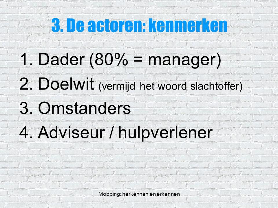 Mobbing: herkennen en erkennen 3. De actoren: kenmerken 1.Dader (80% = manager) 2.Doelwit (vermijd het woord slachtoffer) 3.Omstanders 4.Adviseur / hu
