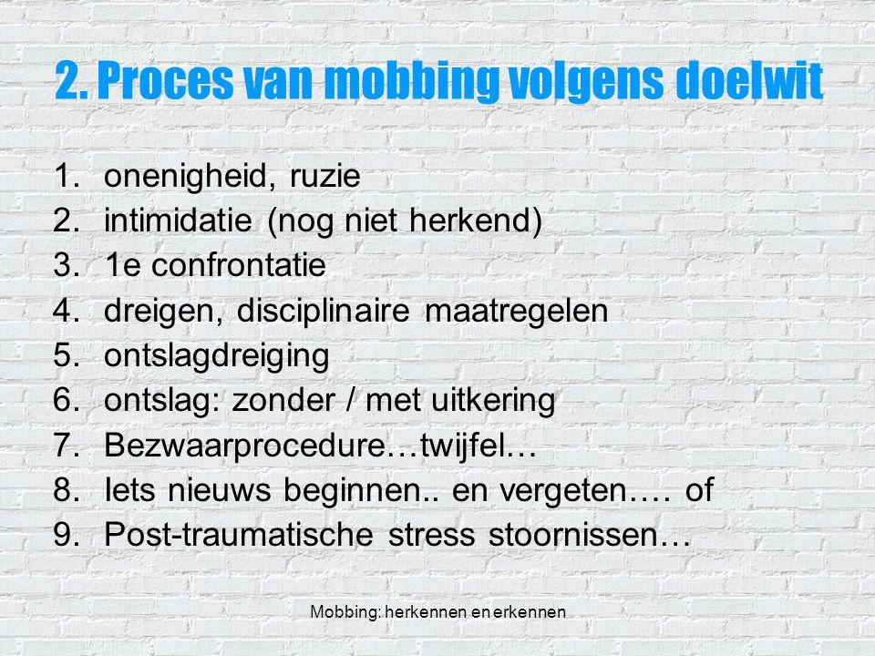 Mobbing: herkennen en erkennen 2. Proces van mobbing volgens doelwit 1.onenigheid, ruzie 2.intimidatie (nog niet herkend) 3.1e confrontatie 4.dreigen,