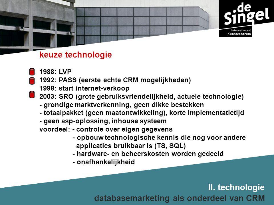 databasemarketing als onderdeel van CRM keuze technologie 1988: LVP 1992: PASS (eerste echte CRM mogelijkheden) 1998: start internet-verkoop 2003: SRO (grote gebruiksvriendelijkheid, actuele technologie) - grondige marktverkenning, geen dikke bestekken - totaalpakket (geen maatontwikkeling), korte implementatietijd - geen asp-oplossing, inhouse systeem voordeel: - controle over eigen gegevens - opbouw technologische kennis die nog voor andere applicaties bruikbaar is (TS, SQL) - hardware- en beheerskosten worden gedeeld - onafhankelijkheid II.