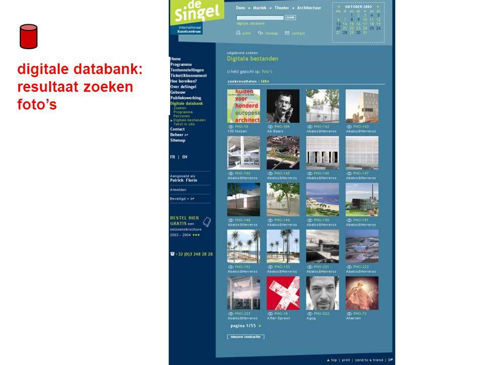 digitale databank: resultaat zoeken foto's