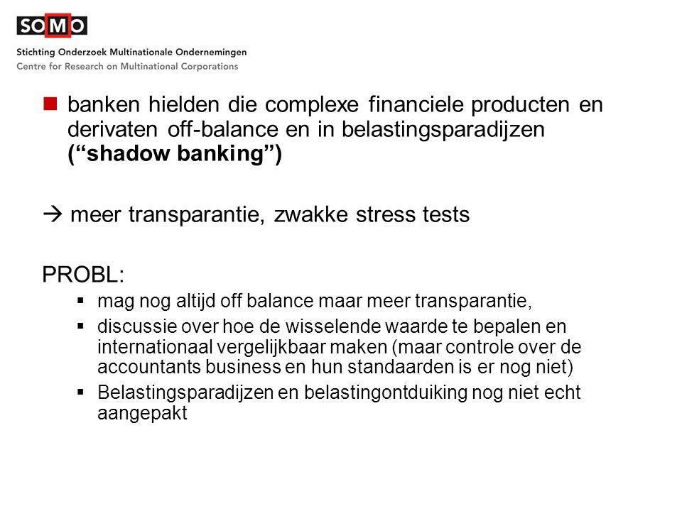 """banken hielden die complexe financiele producten en derivaten off-balance en in belastingsparadijzen (""""shadow banking"""")  meer transparantie, zwakke s"""