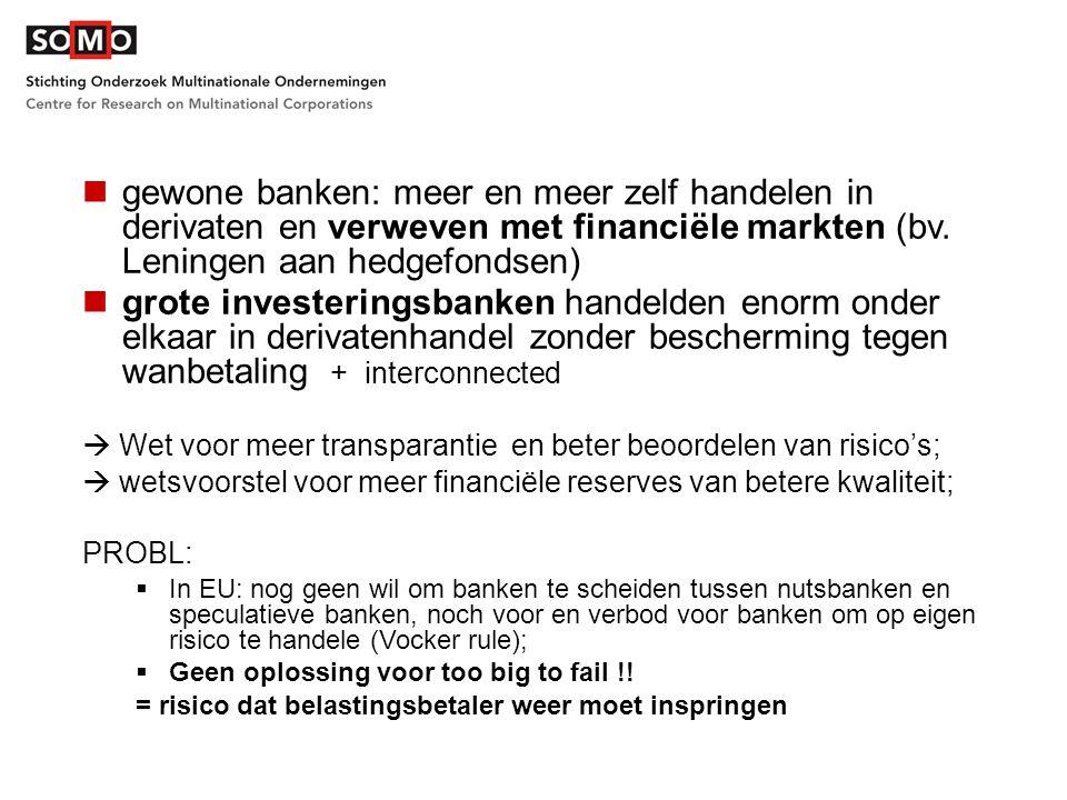 gewone banken: meer en meer zelf handelen in derivaten en verweven met financiële markten (bv. Leningen aan hedgefondsen) grote investeringsbanken han