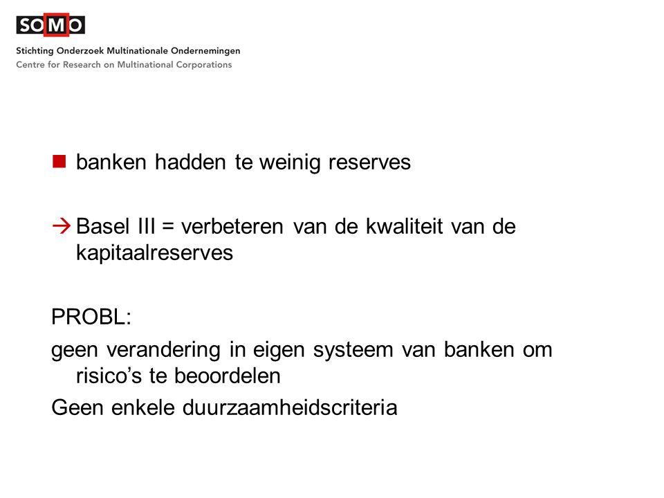banken hadden te weinig reserves  Basel III = verbeteren van de kwaliteit van de kapitaalreserves PROBL: geen verandering in eigen systeem van banken om risico's te beoordelen Geen enkele duurzaamheidscriteria
