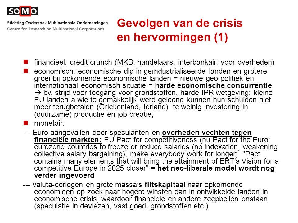Gevolgen van de crisis en hervormingen (1) financieel: credit crunch (MKB, handelaars, interbankair, voor overheden) economisch: economische dip in ge