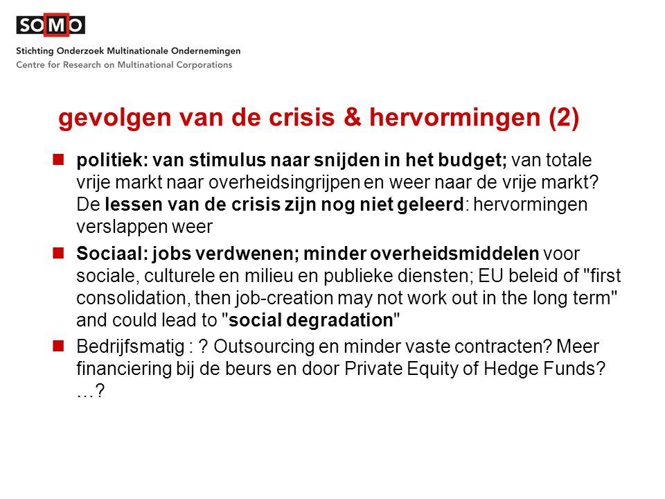 gevolgen van de crisis & hervormingen (2) politiek: van stimulus naar snijden in het budget; van totale vrije markt naar overheidsingrijpen en weer naar de vrije markt.