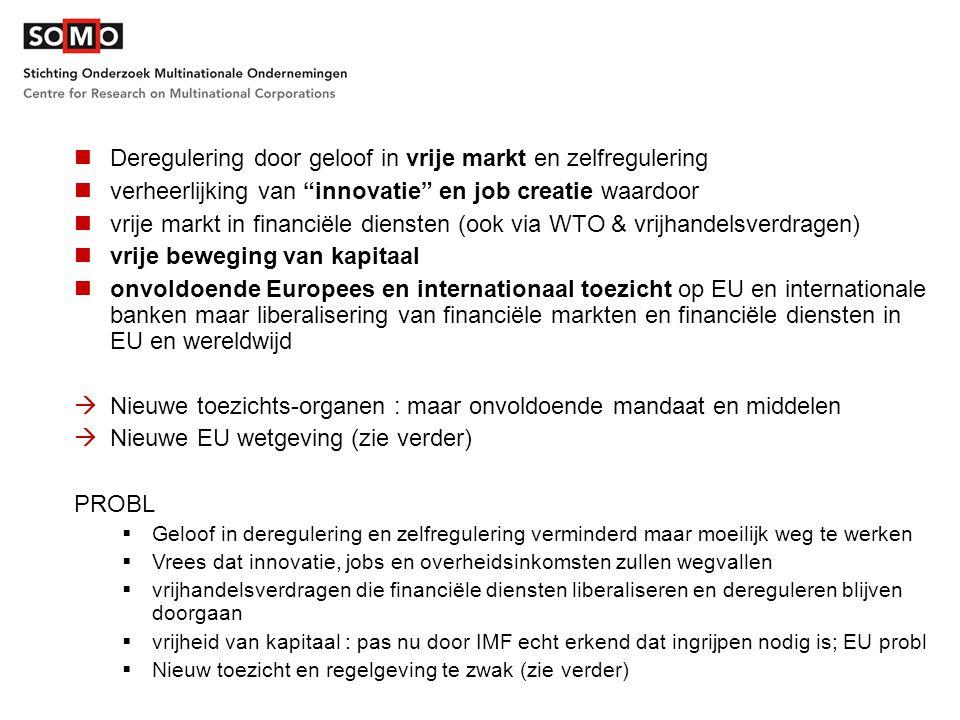 Deregulering door geloof in vrije markt en zelfregulering verheerlijking van innovatie en job creatie waardoor vrije markt in financiële diensten (ook via WTO & vrijhandelsverdragen) vrije beweging van kapitaal onvoldoende Europees en internationaal toezicht op EU en internationale banken maar liberalisering van financiële markten en financiële diensten in EU en wereldwijd  Nieuwe toezichts-organen : maar onvoldoende mandaat en middelen  Nieuwe EU wetgeving (zie verder) PROBL  Geloof in deregulering en zelfregulering verminderd maar moeilijk weg te werken  Vrees dat innovatie, jobs en overheidsinkomsten zullen wegvallen  vrijhandelsverdragen die financiële diensten liberaliseren en dereguleren blijven doorgaan  vrijheid van kapitaal : pas nu door IMF echt erkend dat ingrijpen nodig is; EU probl  Nieuw toezicht en regelgeving te zwak (zie verder)