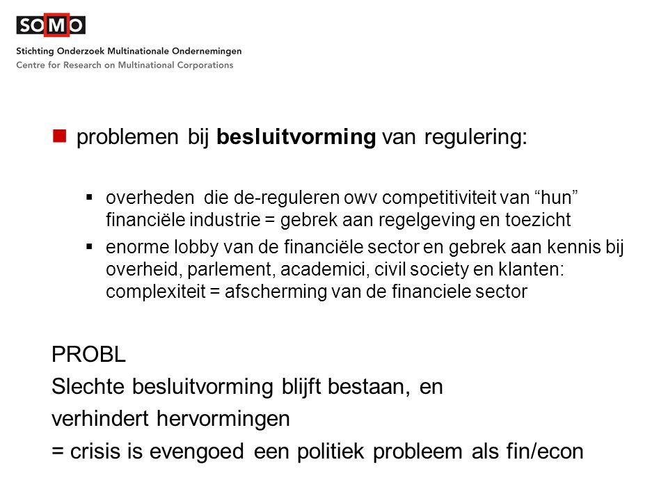 """problemen bij besluitvorming van regulering:  overheden die de-reguleren owv competitiviteit van """"hun"""" financiële industrie = gebrek aan regelgeving"""