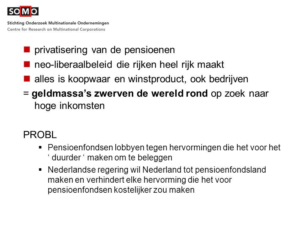privatisering van de pensioenen neo-liberaalbeleid die rijken heel rijk maakt alles is koopwaar en winstproduct, ook bedrijven = geldmassa's zwerven de wereld rond op zoek naar hoge inkomsten PROBL  Pensioenfondsen lobbyen tegen hervormingen die het voor het ' duurder ' maken om te beleggen  Nederlandse regering wil Nederland tot pensioenfondsland maken en verhindert elke hervorming die het voor pensioenfondsen kostelijker zou maken