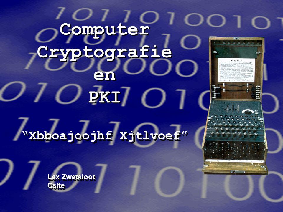 Computer Cryptografie en PKI Xbboajoojhf Xjtlvoef Lex Zwetsloot Csite Xbboajoojhf Xjtlvoef Lex Zwetsloot Csite