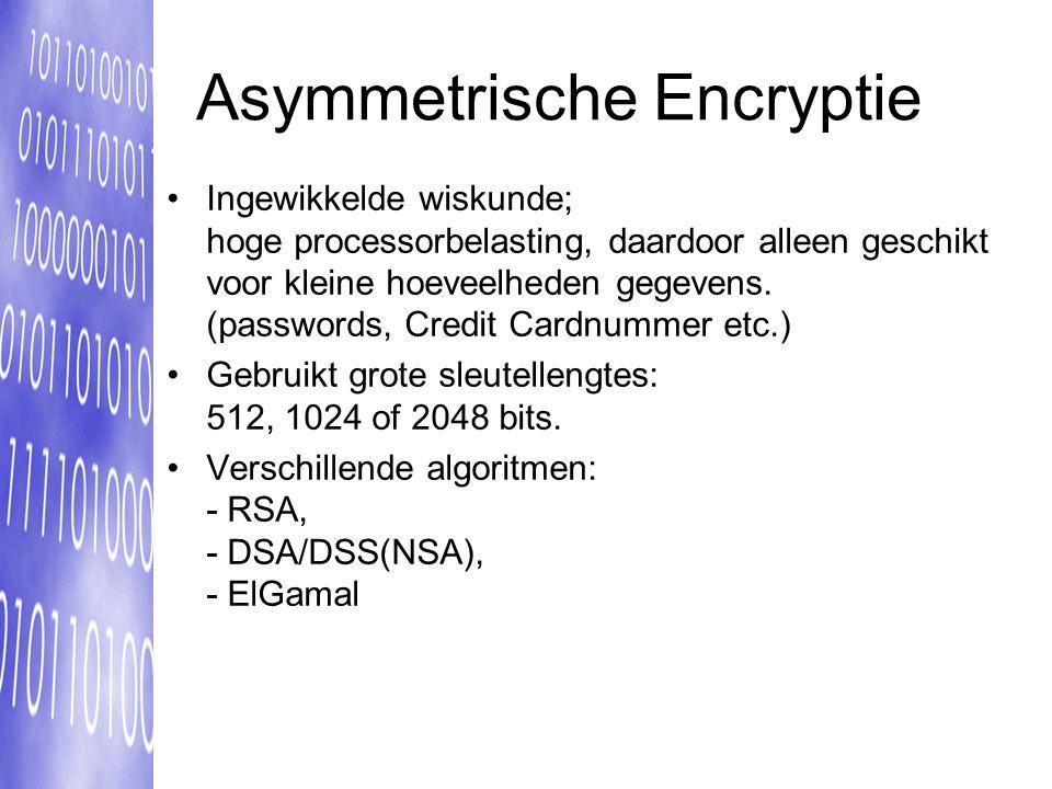 Asymmetrische Encryptie Ingewikkelde wiskunde; hoge processorbelasting, daardoor alleen geschikt voor kleine hoeveelheden gegevens.