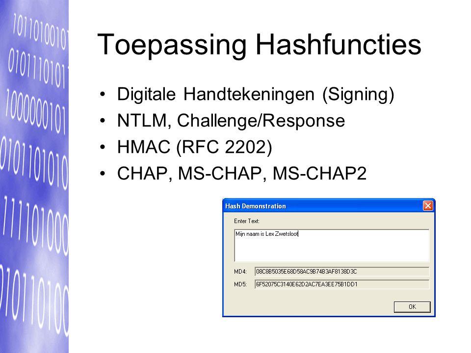 Toepassing Hashfuncties Digitale Handtekeningen (Signing) NTLM, Challenge/Response HMAC (RFC 2202) CHAP, MS-CHAP, MS-CHAP2