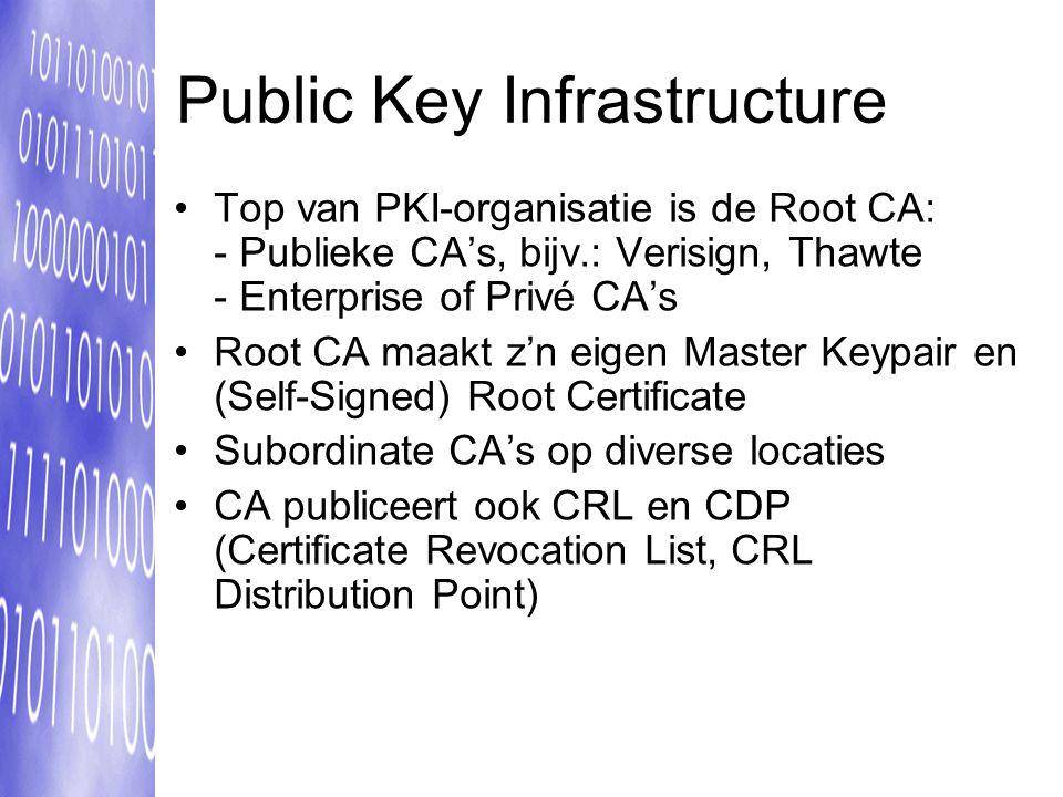 Public Key Infrastructure Top van PKI-organisatie is de Root CA: - Publieke CA's, bijv.: Verisign, Thawte - Enterprise of Privé CA's Root CA maakt z'n eigen Master Keypair en (Self-Signed) Root Certificate Subordinate CA's op diverse locaties CA publiceert ook CRL en CDP (Certificate Revocation List, CRL Distribution Point)