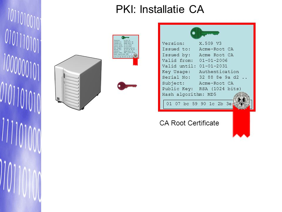 PKI: Installatie CA Version: X.509 V3 Issued to: Acme-Root CA Issued by: Acme Root CA Valid from: 01-01-2006 Valid until: 01-01-2031 Key Usage: Authen