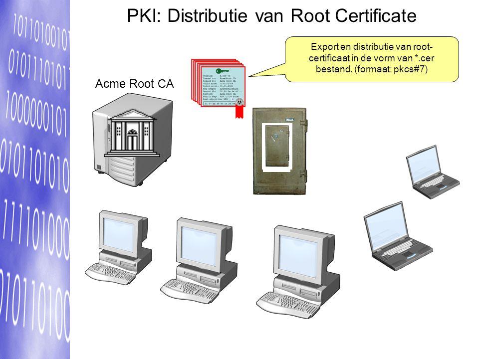 PKI: Distributie van Root Certificate Export en distributie van root- certificaat in de vorm van *.cer bestand.
