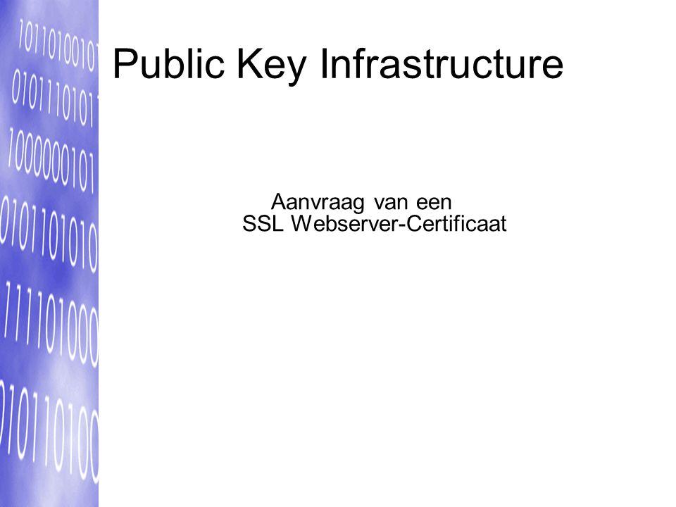 Public Key Infrastructure Aanvraag van een SSL Webserver-Certificaat