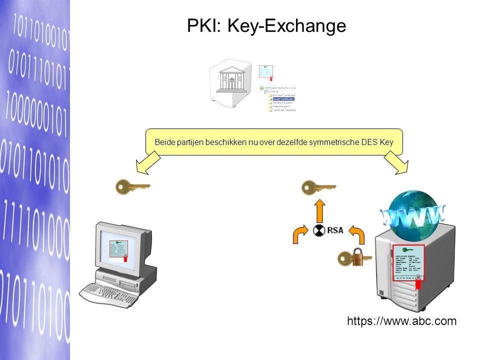 https://www.abc.com Beide partijen beschikken nu over dezelfde symmetrische DES Key PKI: Key-Exchange