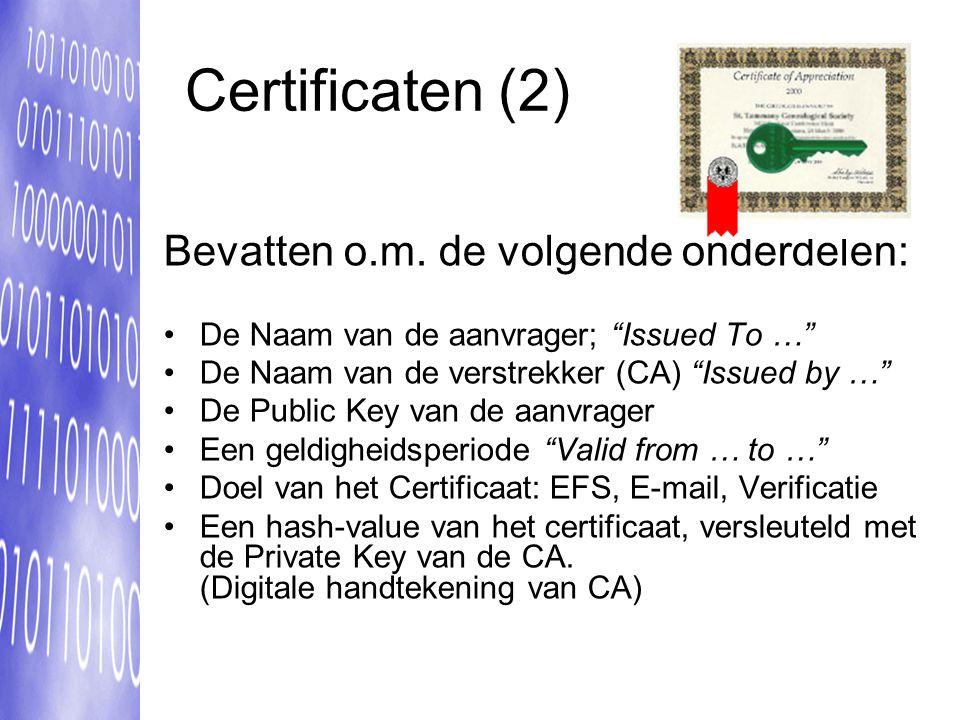 Certificaten (2) Bevatten o.m.