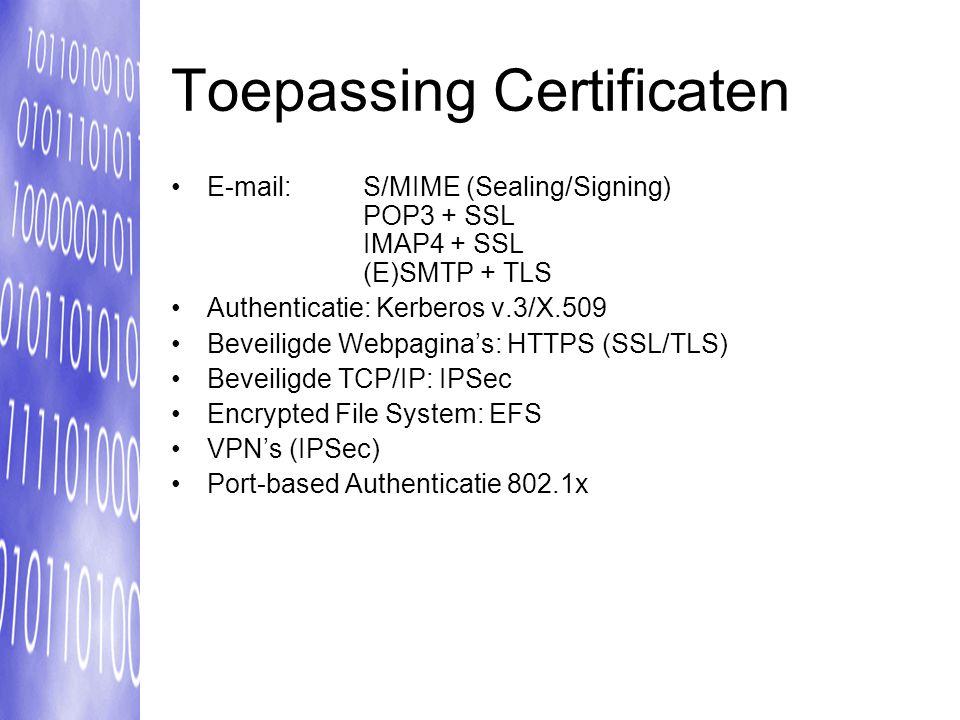 Toepassing Certificaten E-mail: S/MIME (Sealing/Signing) POP3 + SSL IMAP4 + SSL (E)SMTP + TLS Authenticatie: Kerberos v.3/X.509 Beveiligde Webpagina's: HTTPS (SSL/TLS) Beveiligde TCP/IP: IPSec Encrypted File System: EFS VPN's (IPSec) Port-based Authenticatie 802.1x