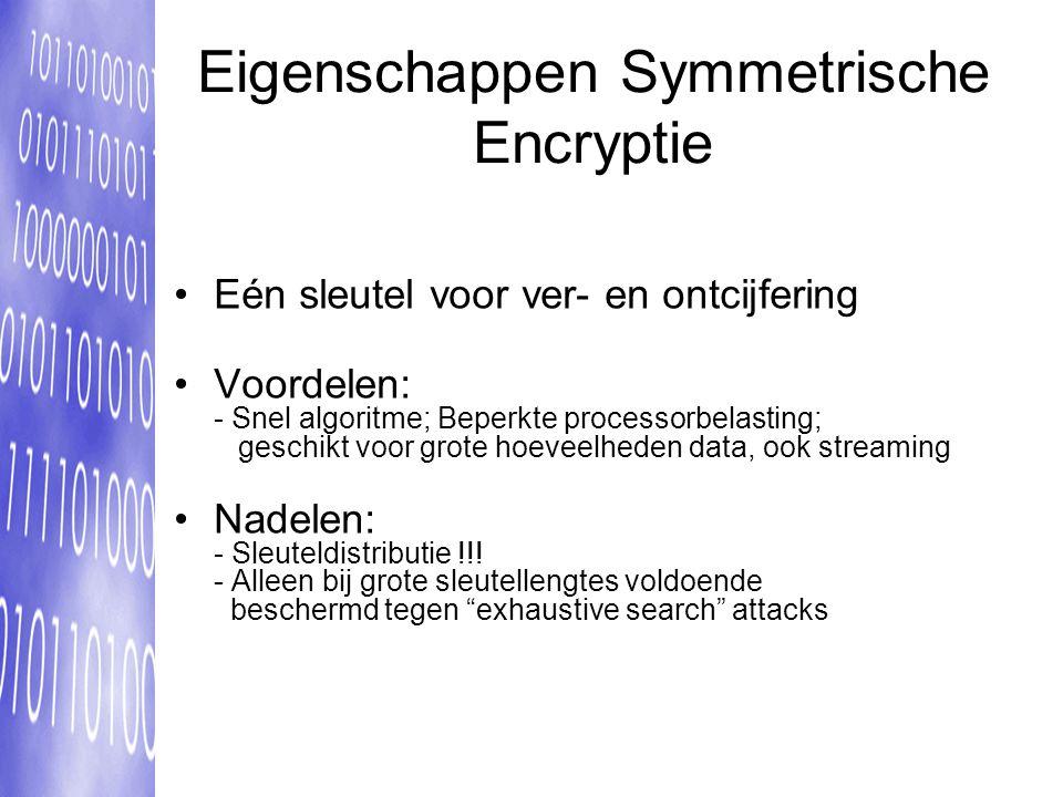 Eigenschappen Symmetrische Encryptie Eén sleutel voor ver- en ontcijfering Voordelen: - Snel algoritme; Beperkte processorbelasting; geschikt voor grote hoeveelheden data, ook streaming Nadelen: - Sleuteldistributie !!.