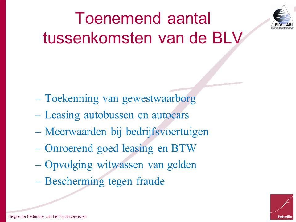 Belgische Federatie van het Financiewezen Toenemend aantal tussenkomsten van de BLV –Toekenning van gewestwaarborg –Leasing autobussen en autocars –Meerwaarden bij bedrijfsvoertuigen –Onroerend goed leasing en BTW –Opvolging witwassen van gelden –Bescherming tegen fraude