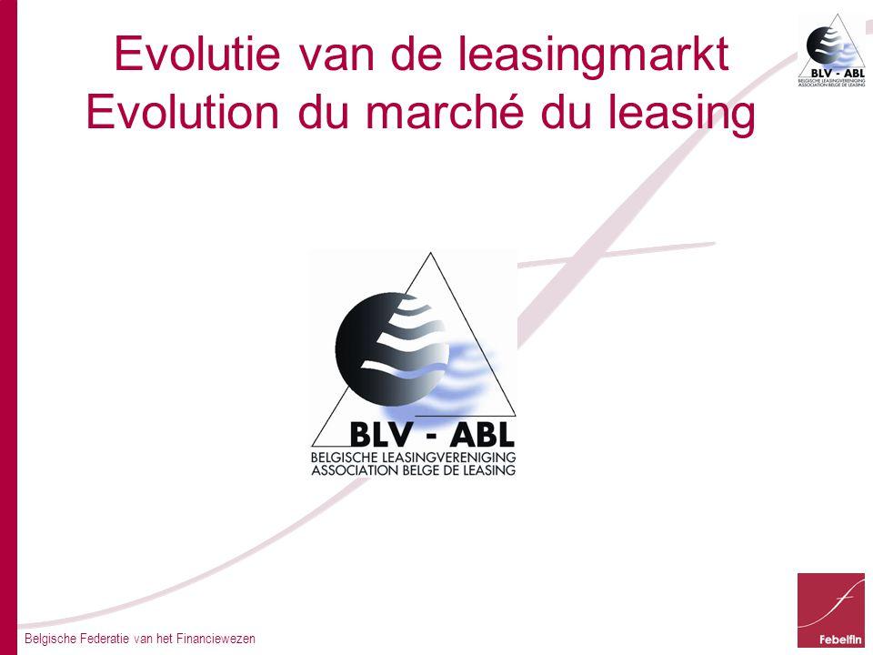 Belgische Federatie van het Financiewezen Evolutie van de leasingmarkt Evolution du marché du leasing