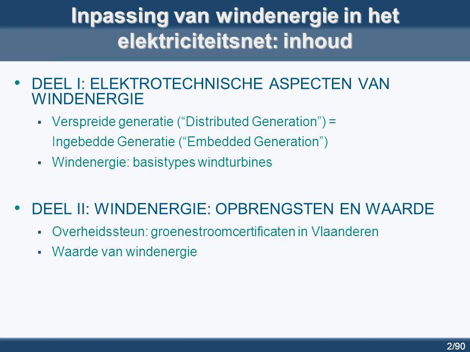 """2/90 DEEL I: ELEKTROTECHNISCHE ASPECTEN VAN WINDENERGIE  Verspreide generatie (""""Distributed Generation"""") = Ingebedde Generatie (""""Embedded Generation"""""""