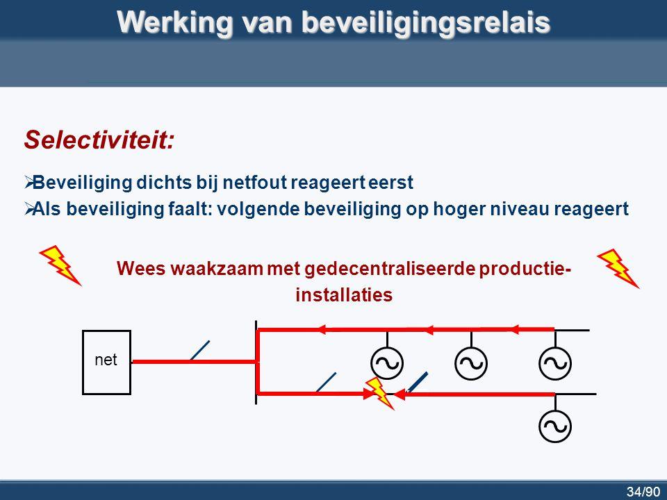 34/90 Werking van beveiligingsrelais Selectiviteit:  Beveiliging dichts bij netfout reageert eerst  Als beveiliging faalt: volgende beveiliging op h