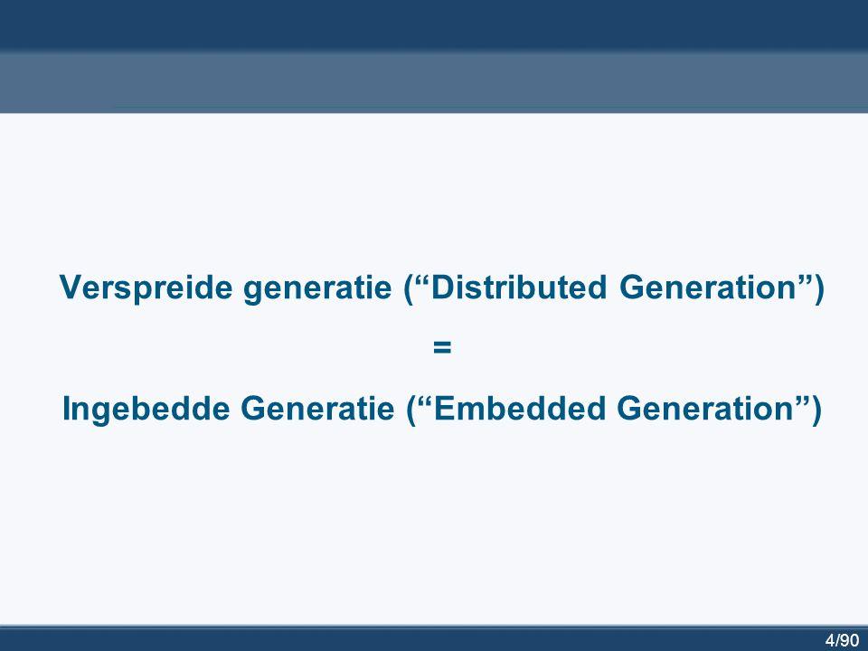 """4/90 Verspreide generatie (""""Distributed Generation"""") = Ingebedde Generatie (""""Embedded Generation"""")"""