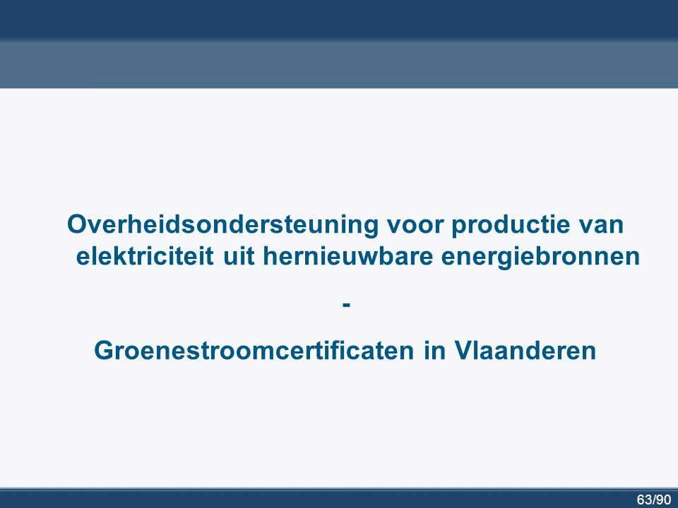 63/90 Overheidsondersteuning voor productie van elektriciteit uit hernieuwbare energiebronnen - Groenestroomcertificaten in Vlaanderen