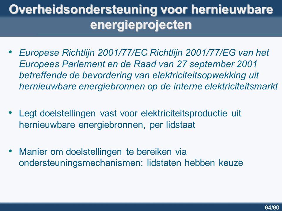 64/90 Overheidsondersteuning voor hernieuwbare energieprojecten Europese Richtlijn 2001/77/EC Richtlijn 2001/77/EG van het Europees Parlement en de Raa