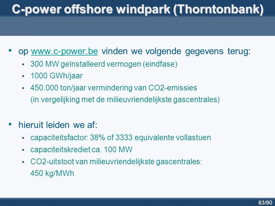 83/90 C-power offshore windpark (Thorntonbank) op www.c-power.be vinden we volgende gegevens terug:www.c-power.be  300 MW geïnstalleerd vermogen (ein
