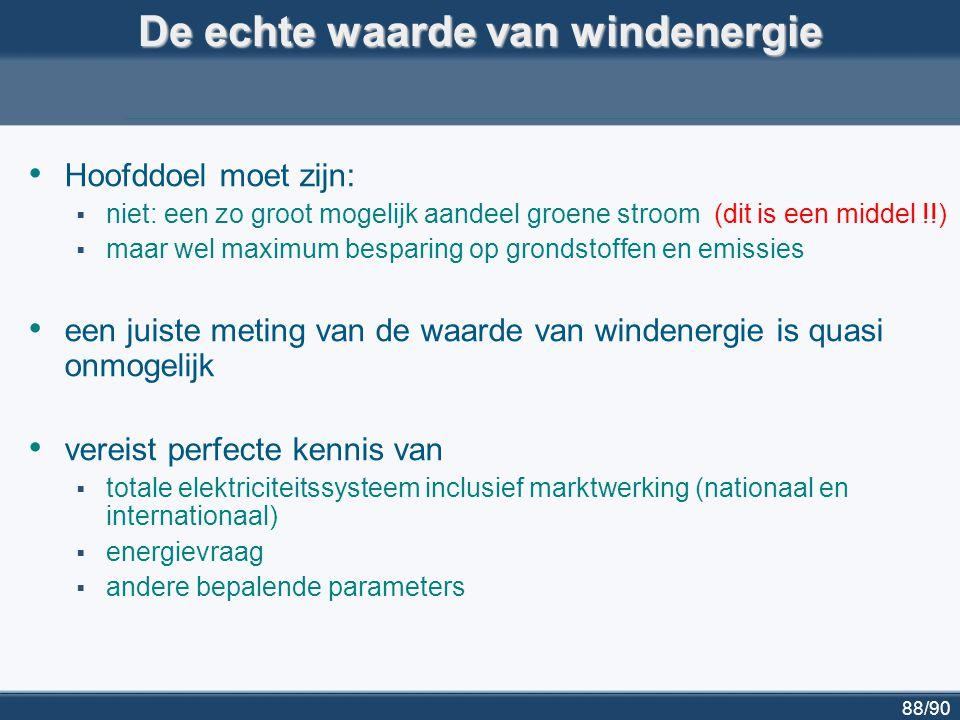 88/90 De echte waarde van windenergie Hoofddoel moet zijn:  niet: een zo groot mogelijk aandeel groene stroom (dit is een middel !!)  maar wel maxim
