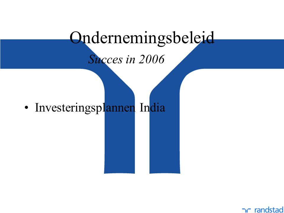 Ondernemingsbeleid Investeringsplannen India Succes in 2006