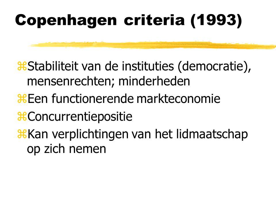 Copenhagen criteria (1993) zStabiliteit van de instituties (democratie), mensenrechten; minderheden zEen functionerende markteconomie zConcurrentiepositie zKan verplichtingen van het lidmaatschap op zich nemen