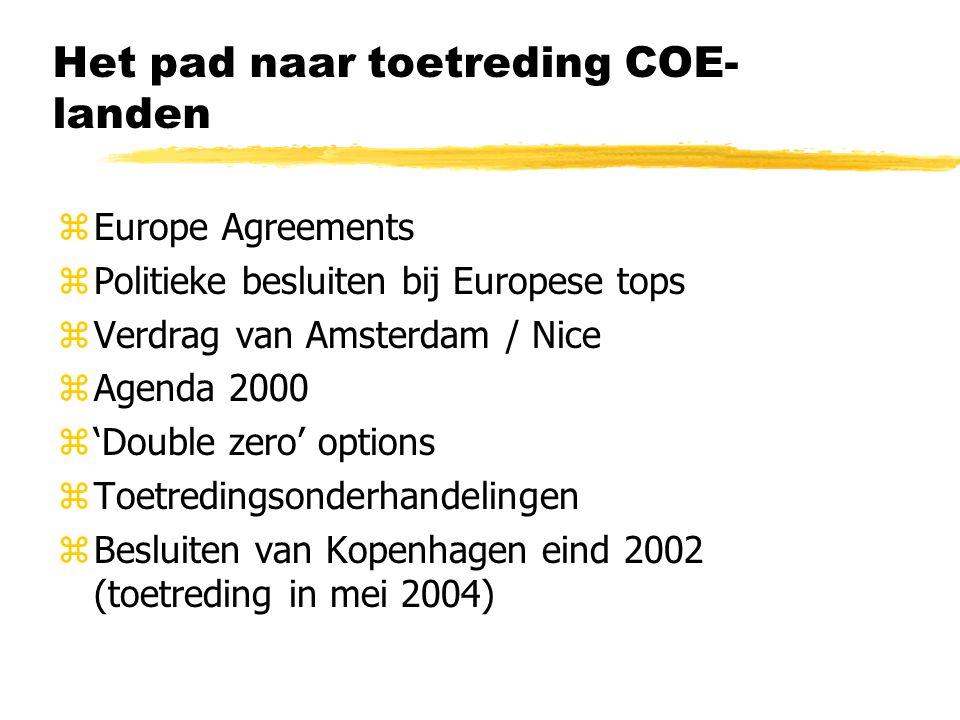 Het pad naar toetreding COE- landen zEurope Agreements zPolitieke besluiten bij Europese tops zVerdrag van Amsterdam / Nice zAgenda 2000 z'Double zero' options zToetredingsonderhandelingen zBesluiten van Kopenhagen eind 2002 (toetreding in mei 2004)