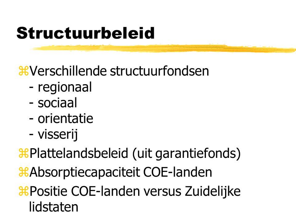 Structuurbeleid zVerschillende structuurfondsen - regionaal - sociaal - orientatie - visserij zPlattelandsbeleid (uit garantiefonds) zAbsorptiecapaciteit COE-landen zPositie COE-landen versus Zuidelijke lidstaten
