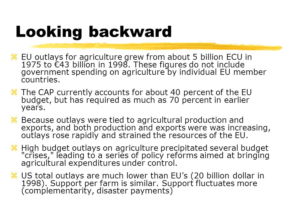 Looking backward zEU outlays for agriculture grew from about 5 billion ECU in 1975 to €43 billion in 1998. These figures do not include government spe