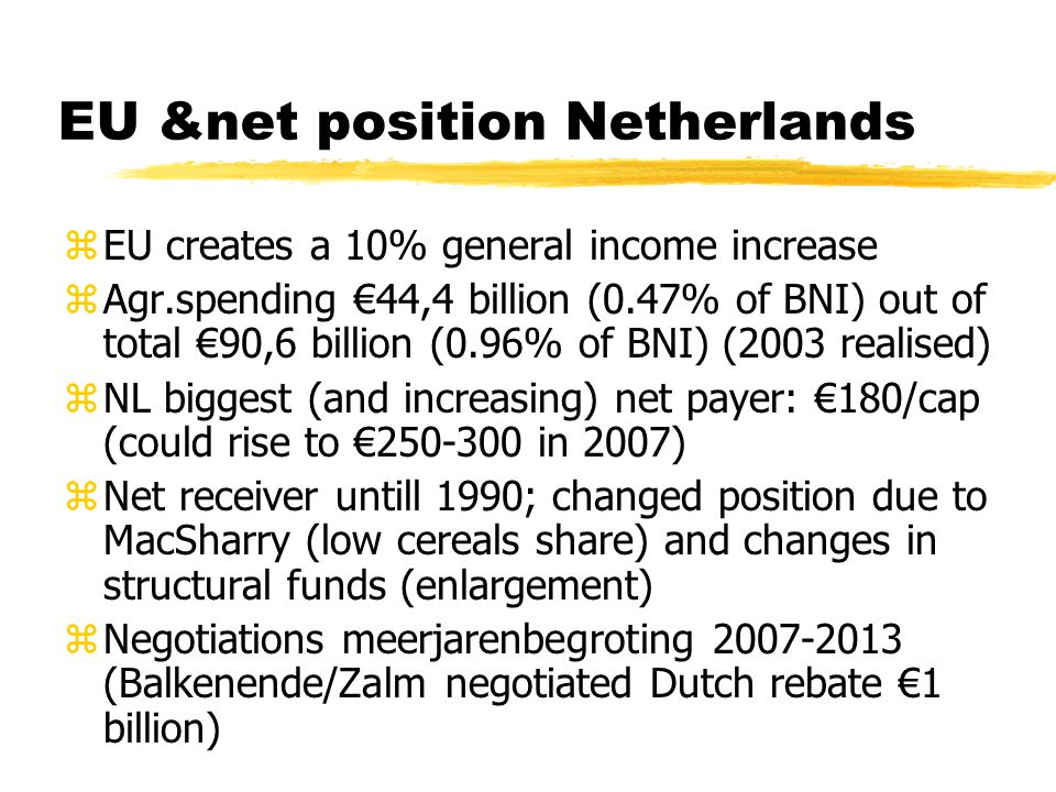 EU &net position Netherlands zEU creates a 10% general income increase zAgr.spending €44,4 billion (0.47% of BNI) out of total €90,6 billion (0.96% of BNI) (2003 realised) zNL biggest (and increasing) net payer: €180/cap (could rise to € in 2007) zNet receiver untill 1990; changed position due to MacSharry (low cereals share) and changes in structural funds (enlargement) zNegotiations meerjarenbegroting (Balkenende/Zalm negotiated Dutch rebate €1 billion)