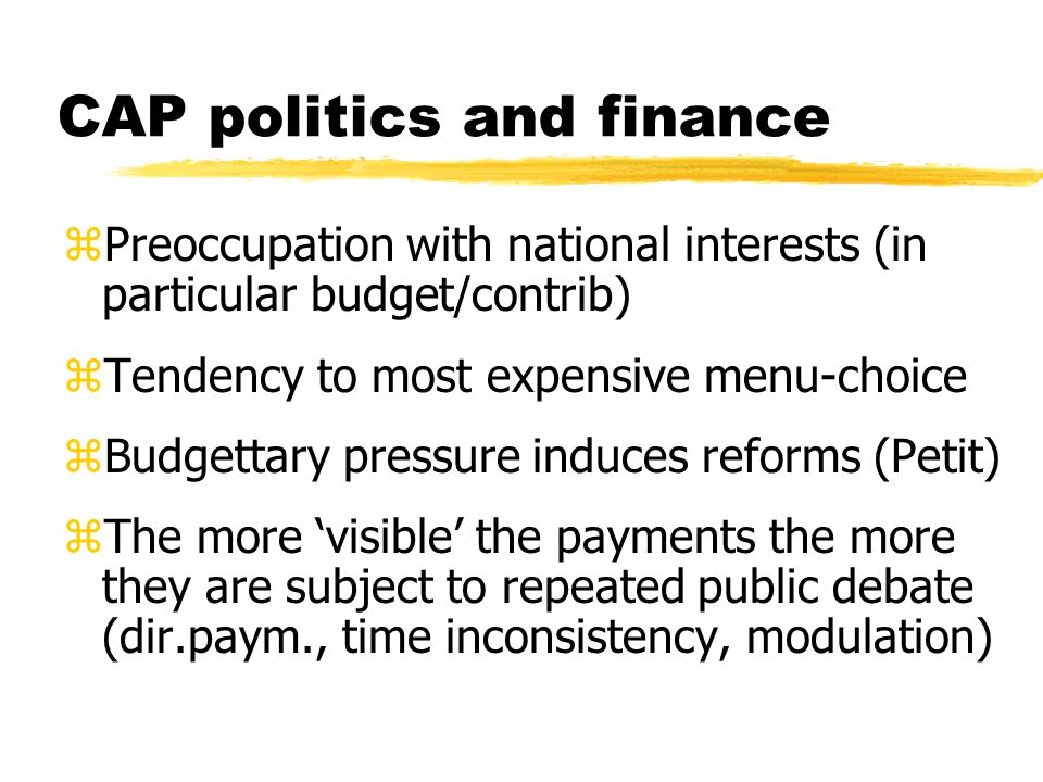 CAP politics and finance zPreoccupation with national interests (in particular budget/contrib) zTendency to most expensive menu-choice zBudgettary pressure induces reforms (Petit) zThe more 'visible' the payments the more they are subject to repeated public debate (dir.paym., time inconsistency, modulation)