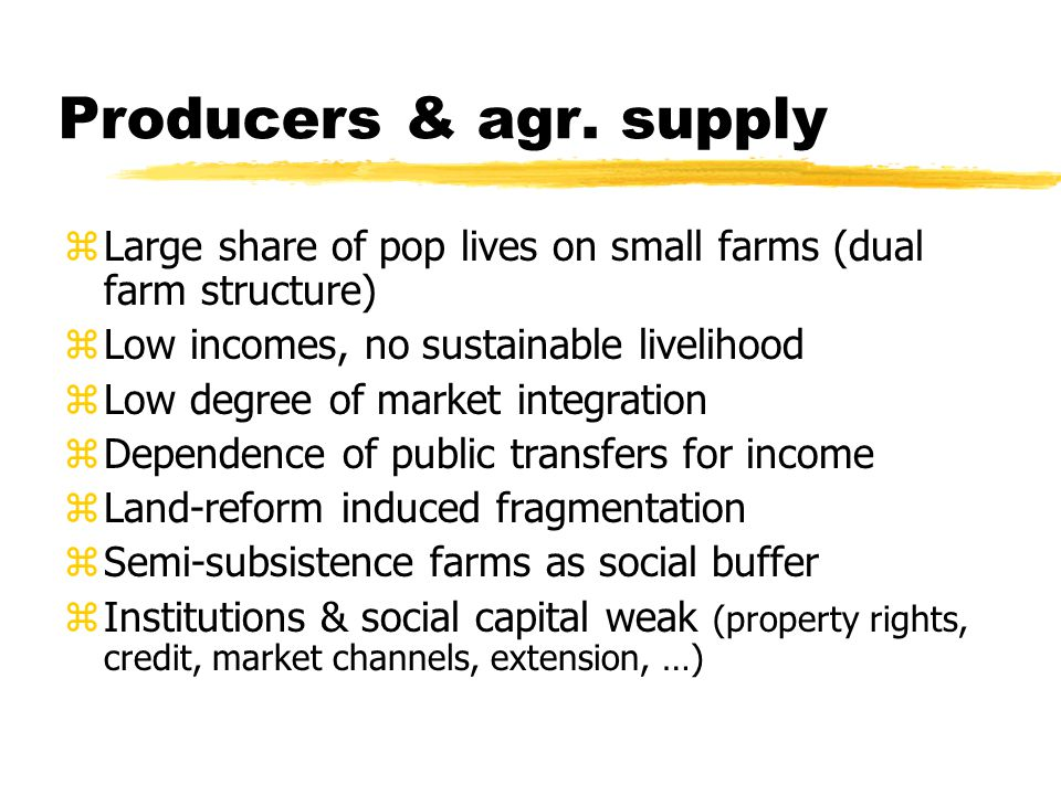 Producers & agr. supply zLarge share of pop lives on small farms (dual farm structure) zLow incomes, no sustainable livelihood zLow degree of market i