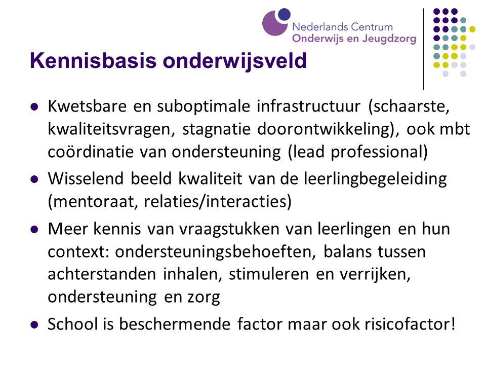 Kennisbasis onderwijsveld Kwetsbare en suboptimale infrastructuur (schaarste, kwaliteitsvragen, stagnatie doorontwikkeling), ook mbt coördinatie van o