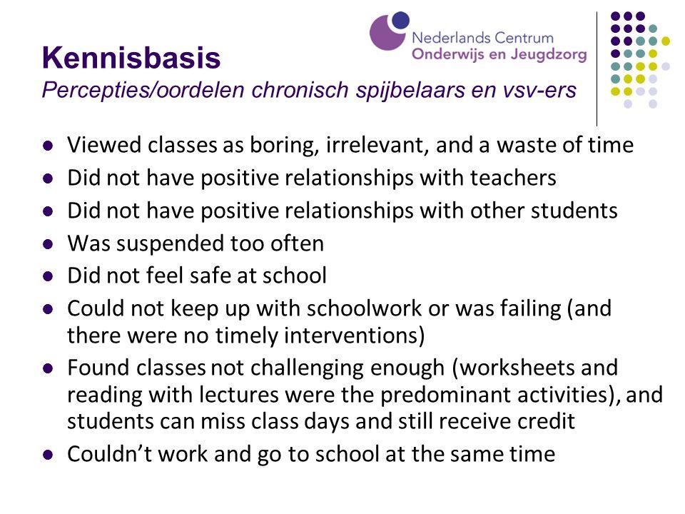 Kennisbasis Percepties/oordelen chronisch spijbelaars en vsv-ers Viewed classes as boring, irrelevant, and a waste of time Did not have positive relat