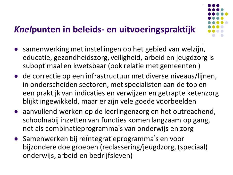 Knelpunten in beleids- en uitvoeringspraktijk samenwerking met instellingen op het gebied van welzijn, educatie, gezondheidszorg, veiligheid, arbeid e