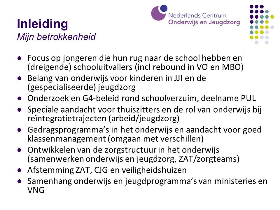 Bij de les blijven (1996-2000) Frequentie en aard schoolverzuim in Amsterdam Registratie en definities School routines op orde (signalering/registratie, afhandeling, oudercontact, zorgstructuur, partners lpa, politie, hulpverlening e.d.) Belang van goede diagnostiek en relatie met leerlingenzorg Kwaliteitsverbetering schoolklimaat Vroegsignalering en aanpak ziekteverzuim Verbeteren ondersteuningssysteem en invoering Zorg- en adviesteams/JAT's