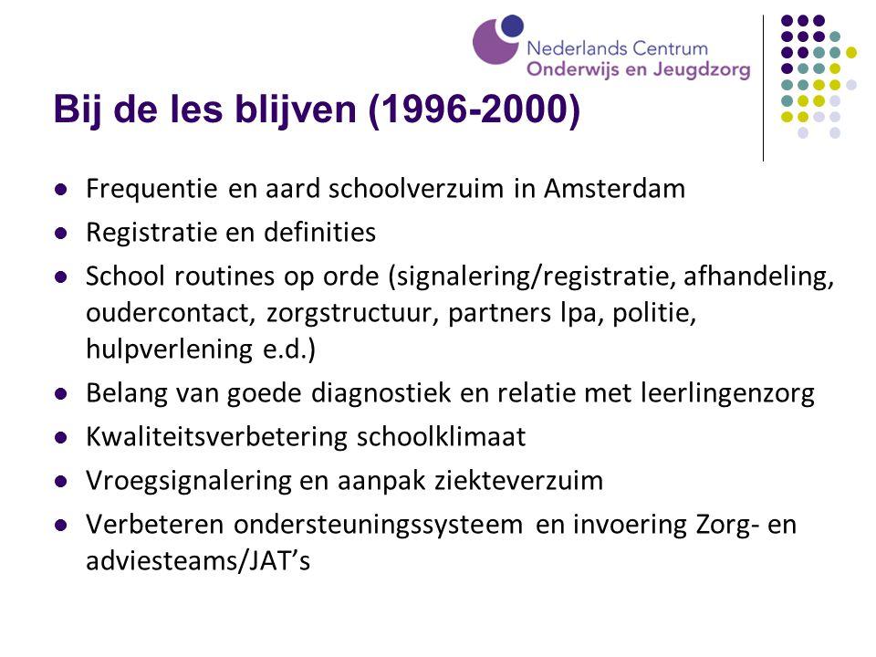Bij de les blijven (1996-2000) Frequentie en aard schoolverzuim in Amsterdam Registratie en definities School routines op orde (signalering/registrati
