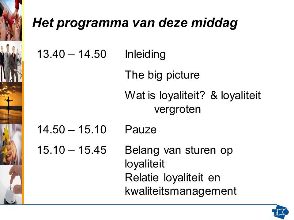 Het programma van deze middag 13.40 – 14.50Inleiding The big picture Wat is loyaliteit? & loyaliteit vergroten 14.50 – 15.10 Pauze 15.10 – 15.45 Belan