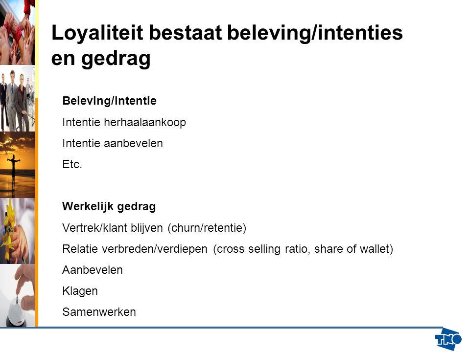 Loyaliteit bestaat beleving/intenties en gedrag Beleving/intentie Intentie herhaalaankoop Intentie aanbevelen Etc. Werkelijk gedrag Vertrek/klant blij