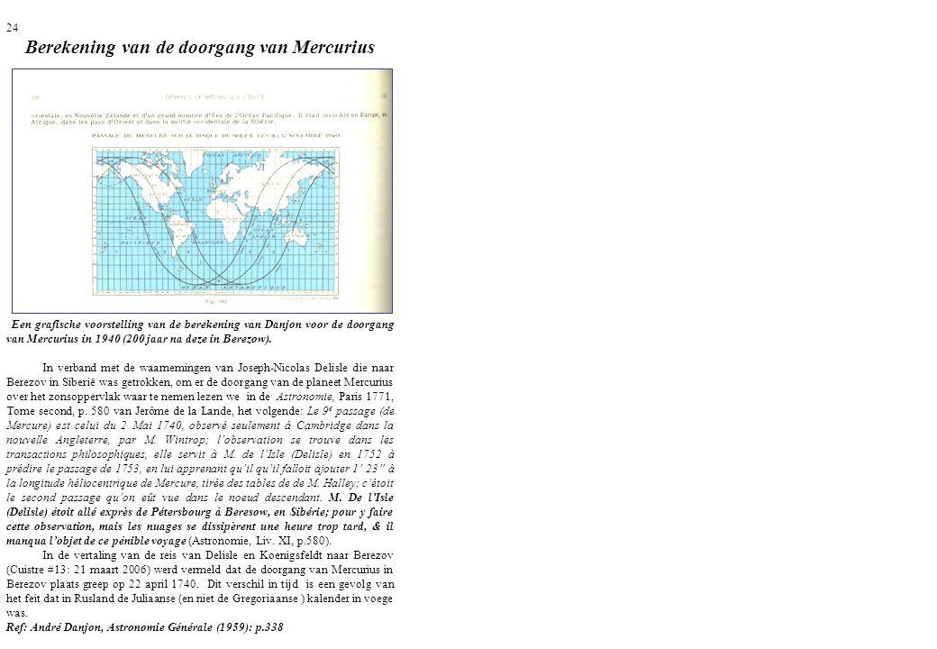 24 Berekening van de doorgang van Mercurius Een grafische voorstelling van de berekening van Danjon voor de doorgang van Mercurius in 1940 (200 jaar n